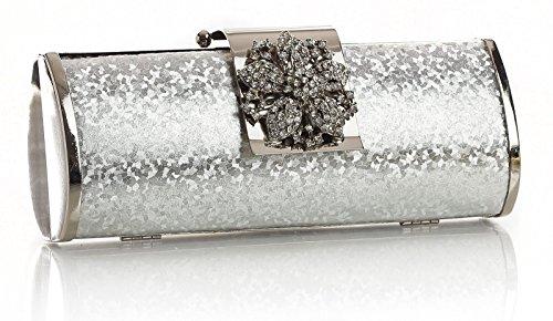 BHBS Bolso Pequeño de Mano para Dama tipo Fiesta, de Estructura Sólida, con Cierre tipo Flor de Diamantes 22x10x5 cm (LxAxP) plateado
