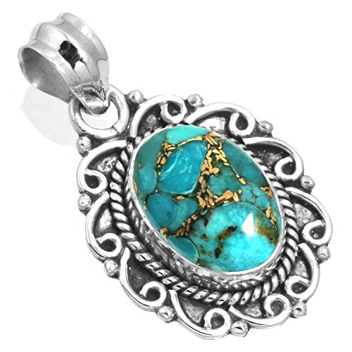 Copper Blue Turquoise Women Jewelry 925 Sterling Silver Pendant