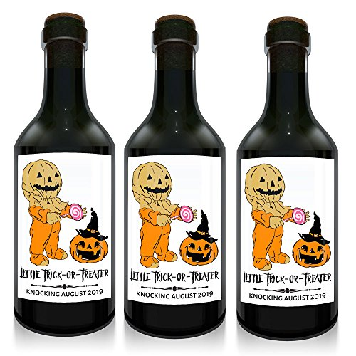 """Trick-or-Treat"" Mini Wine Small Bottle Custom Label Sticker for Baby Shower Party 