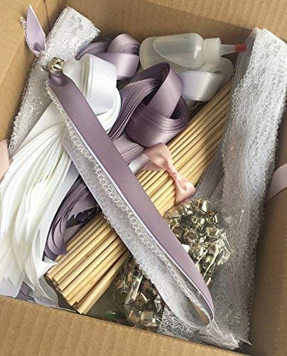 150 DIY Wedding wand kit ribbon send off your choice of colors ()