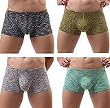ECHOINE Men's Underwear Modal Low Rise Trunks 4 Pack Asian L