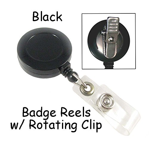 Badge Reels Retractable with Rotating Clip and Plastic Strap - Black - Qty 50