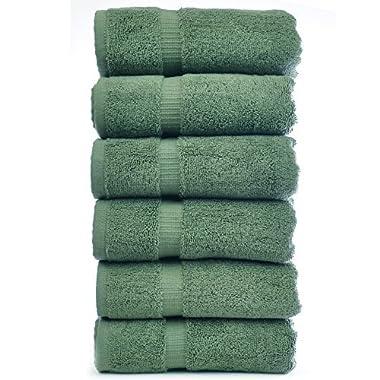 Luxury Hotel & Spa Towel 100% Genuine Turkish Cotton (Hand Towel  - Set of 6, Moss)