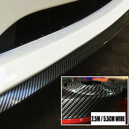EJ's SUPER CAR 8.2 feet (2.5 meters) gm carbon-fiber front bumper spoiler lip, Roof Spoiler, body kit clip stickers, 100% waterproof protection… (Carbon Front Fiber Splitter)