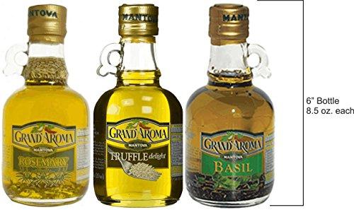 Mantova Grand'Aroma Herb Infused Extra Virgin Olive Oils ~ Rosemary, Truffle & Basil