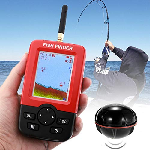 (Fishing Integral Water Temperature Sensor Fishing, XJ-01 Radio Fish Detector 125KHz Sonar Sensor 0.6-36m Depth Locator Fishes Finder with 2.4 inch LCD Screen & Antenna)