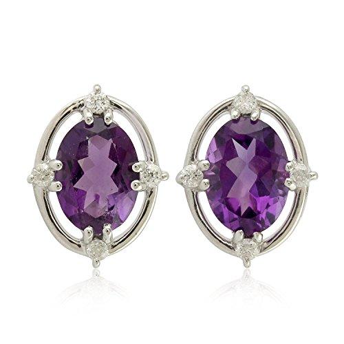 14K White Gold and Amethyst Stud Diamond Designer Fashion Earrings For Women
