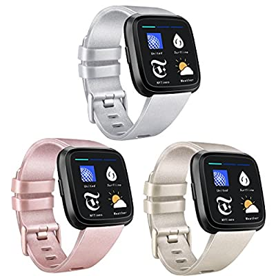 AK Bands Compatible with Fitbit Versa Bands (3 Pack), Soft Replacement Wristband Sports Waterproof Strap for Fitbit Versa Smart Watch Small Large Women Men