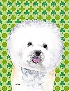 Bichon Frise St. Patrick's Day Shamrock Portrait Flag Garden Size
