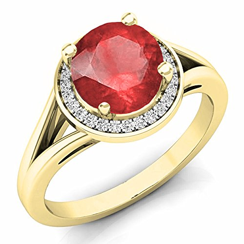(Dazzlingrock Collection 14K 7 MM Ruby & White Diamond Halo Style Bridal Engagement Ring, Yellow Gold, Size 7)