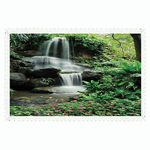iPrint Waterfall,Rectangle Polyester Linen Tablecloth/Waterfall Pond Flowers Tropical Plants Majestic Fresh Jungle Garden/for Dinner Kitchen Home Décor,55