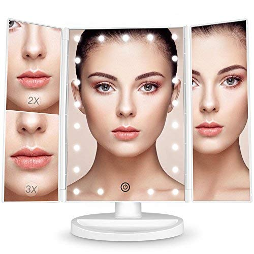 BESTOPE Makeup Vanity Mirror with 21 LED Lights, 1X/2X/3X Magnifying Led Makeup Mirror with Touch Screen,Dual Power Supply,180° Adjustable Rotation