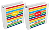Primary Stripes Binder Insert Set | Custom Binder Inserts For School | Two Double-Sided Personalized Binder Inserts | School Supplies | Customized School Gear