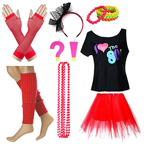 I Love The 80's T-Shirt Fancy Outfit Dress for 1980s Theme Party Supplies (M/L, Red)