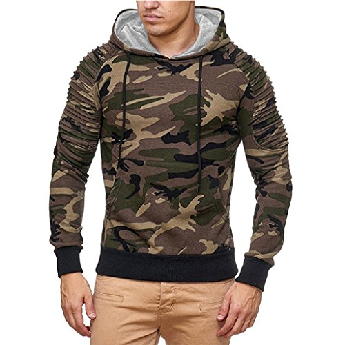 Pervobs Long Sleeve Shirts, Big Promotion! Men's Autumn Casual Camouflage Long Sleeve Hoodie Patchwork Sweatshirt Top Blouse (M, Brown) by Pervobs Mens Long Sleeve Shirts