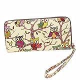 Outtop Ladies Owl Pattern Zipper Clutch Handbag Multi Slots Cards Holder Purse Wristlet Long Wallet (Yellow)