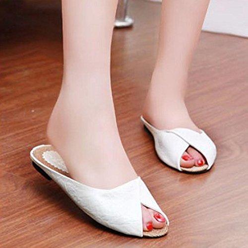 Elevin (tm) 2017 Femmes Printemps Été Peep-toe Tongs Pantoufles Sandales Plates Chaussures Blanc