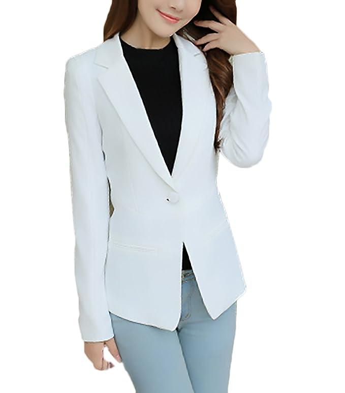 Chaqueta De Traje Mujer Elegantes Moda Slim Fit Fiesta Blazer Manga Larga  De Solapa Con Botones ... 9fa957ef0694