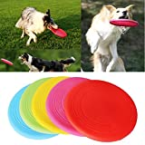 OWIKAR Flying Disc Toy For Dogs 7 inch Dog Frisbee Soft Rubber Flier Dog Flying Toys Bite Resistant For Dog Trainging Throwing Chewing, Random Color (5 Pack)