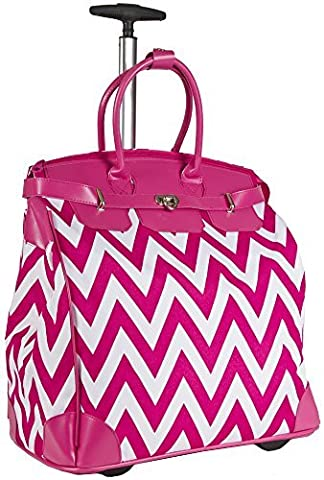 Ever Moda Pink Chevron Rolling Wheeled Overnight Bag - Pink Laptop Tote