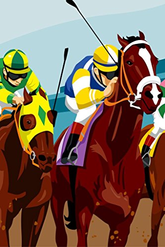 Horse Saddle Art (Jockeys Racing Horses Art Print Poster 24x36 inch)