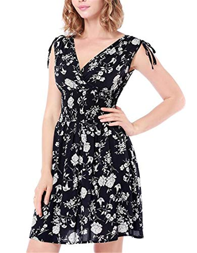 Blue Swing Empire Dark a V Neck Deep Cromoncent Waist Sleeveless Floral Dresses line Womens pxqCgqO
