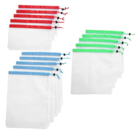 15 piezas 3 bolsas de malla con cordón de tamaño Bolsa de ...