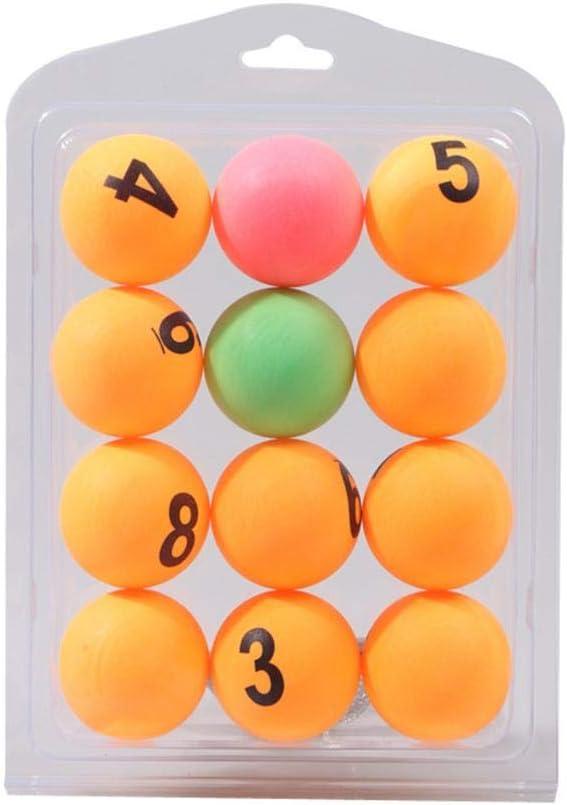 Bolas de ping pong, número de color Bolas de entrenamiento de tenis de mesa profesional Bolas de rifa numeradas de cerveza para juegos de entrenamiento de tenis de mesa - 40MM / 12PCS