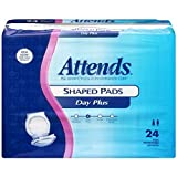 Attends Shaped Pads with Odor-Shield Technology for Adult Incontinence Care, Plus, 24.5'' long, Unisex ,  24 Count (Pack of 4)