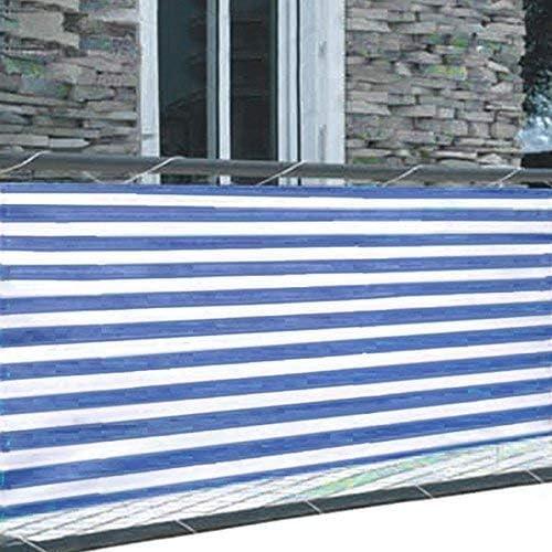 Pantalla de privacidad para balcón 5m Paravientos revestimiento de Balcón Estera de Seguridad Valla Ocultación, color: Azul/blanco: Amazon.es: Jardín