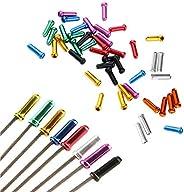 100 PCS 8 Color,Bike Cable End Caps,Aluminum Alloy Bike Brake Cable Caps Crimps for Road Bike and Mountain Bic