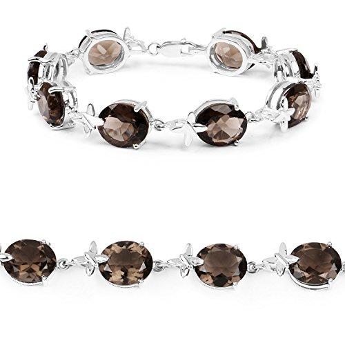 Smoky Topaz .925 Sterling Silver Tennis Bracelet for Women 36.90ctw. from Johareez