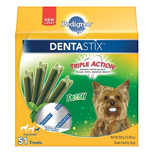 PEDIGREE DENTASTIX Fresh Toy/Small Treats for Dogs 12.66 Ounces 51 Count - Mint Dog Chews