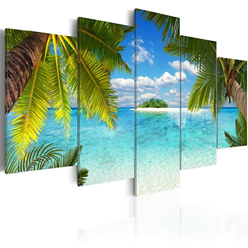 Summer Print Art on Canvas Paradise Island Picture Holiday Landscape Wall Painting Modern Blue Sea Artwork 5 Piece Home Decor Framed and Stretched (F16, Small W40