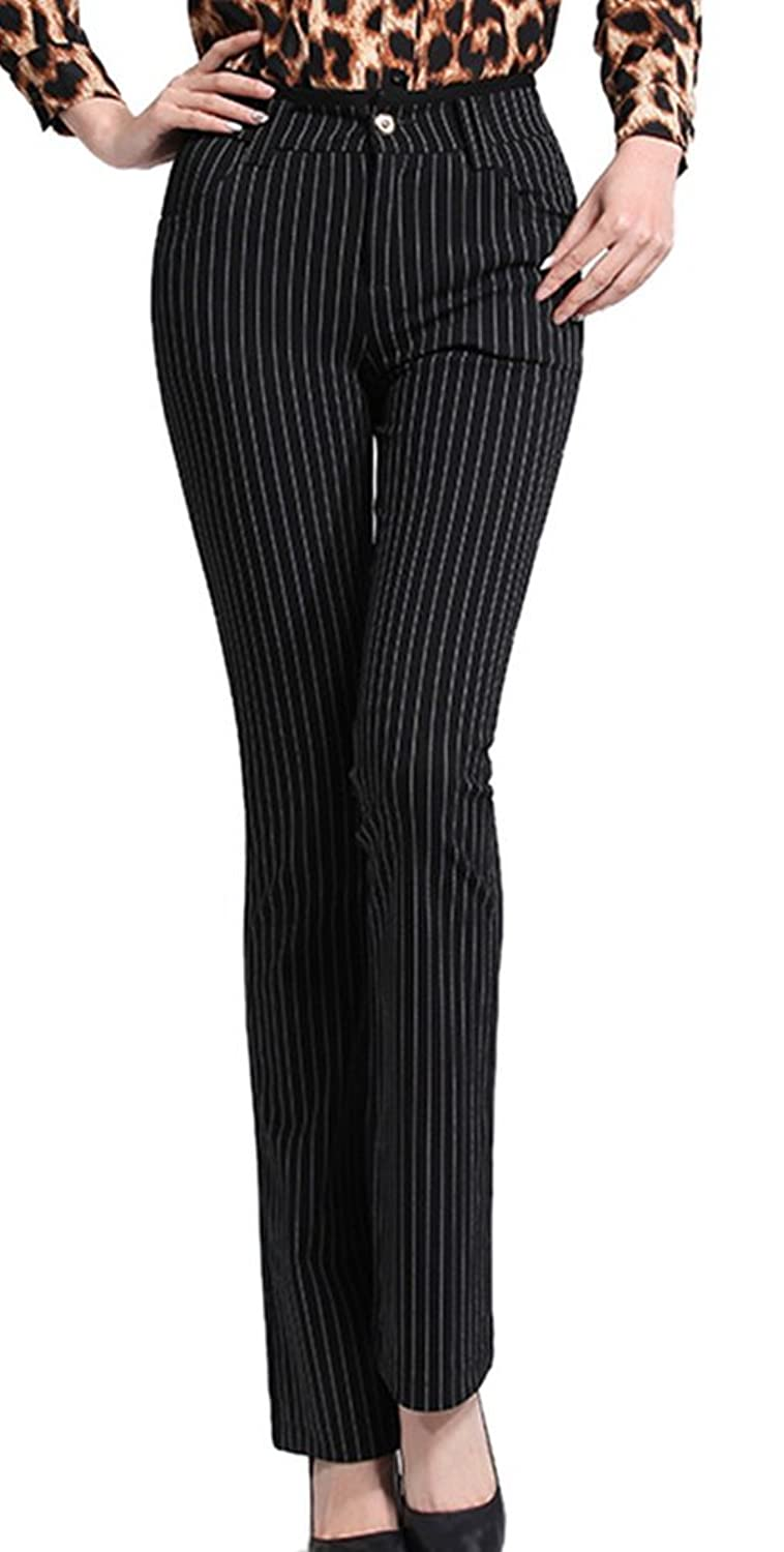 Youtobin Women's Soft Black Stripes Long Junior Size Fitted Skinny Tapered Pants