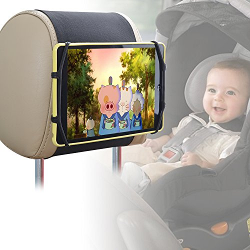 Car Headrest Mount Holder TFY Car Headrest Mount Silicon Holder for 7-10 Inch iPhones and Tablets