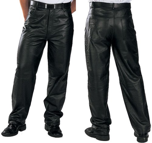 (Xelement 860 Classic Mens Black Loose Fit Leather Pants - 38)