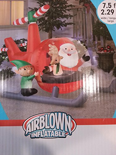 Animated Santa with Helicopter and Reindeer Elf Inflatable Airblown Chopper Christmas 7.5 feet wide