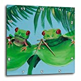 3dRose dpp_44372_1 2 Tree Frogs on a Big Palm Leaf Wall Clock, 10 by 10-Inch Review