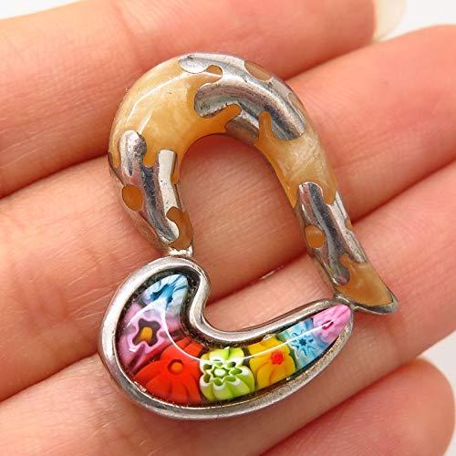925 Sterling Silver Alan K. Enamel & Millefiori Murano Glass Slide Heart Pendant Jewelry Making Supply by Wholesale - Murano Heart Millefiori