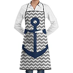 Anchors Adjustable Bib Apron For Women Men Chef Restaurant Home Kitchen Apron Bib With 2 Pockets For Cooking Grill And Baking Crafting Gardening Bbq