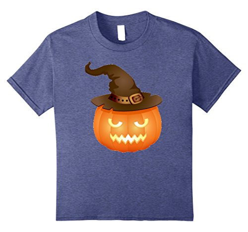 Kids JACK O LANTERN Shirt Pumpkin Halloween Costume Witch Hat 10 Heather Blue