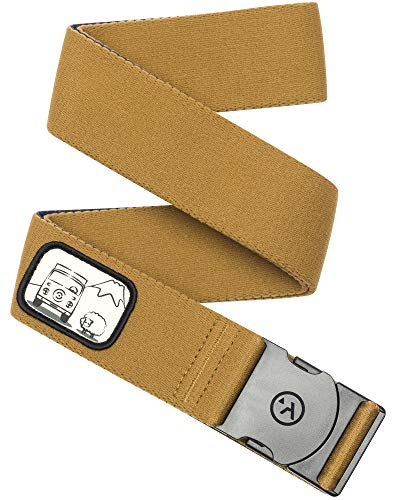 (Arcade Belt Mens Adventure Rambler Belts: Heavy Duty Elastic Webbing, Non-Metal Travel Friendly Buckle, Metal Brown/Camper Van)