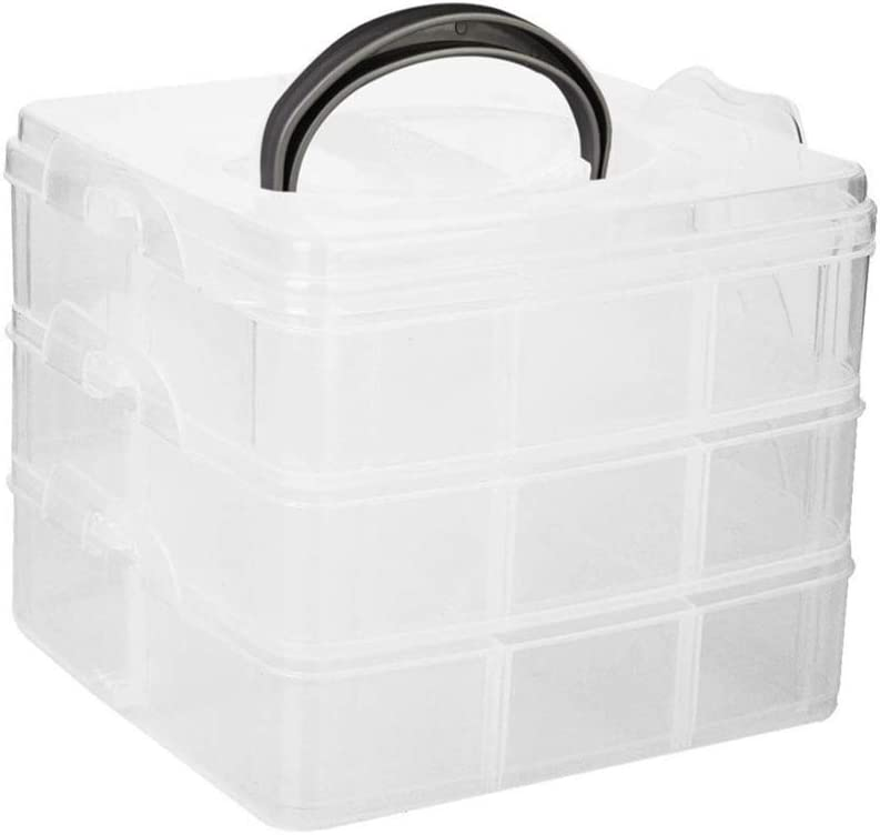 OULII 3 Layers Plastic Craft Storage Box Case Holder Organizer Adjustable 6 x 6 x 2 Inch