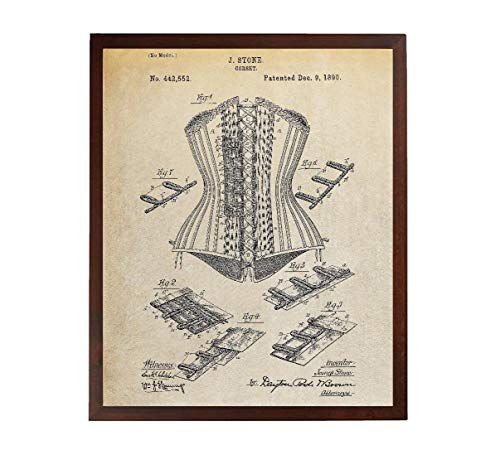 Turnip Designs Corset Patent Poster Boutique Decor Victorian Corset Saloon Girl TDP432]()