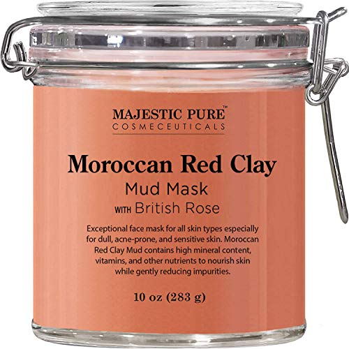 MAJESTIC PURE Moroccan Red Clay Facial Mud Mask with British Rose – Natural Skin Care Face Mask for Pore Cleansing and Dull & Sensitive Skin – Fights Acne and Blackheads – 10 oz