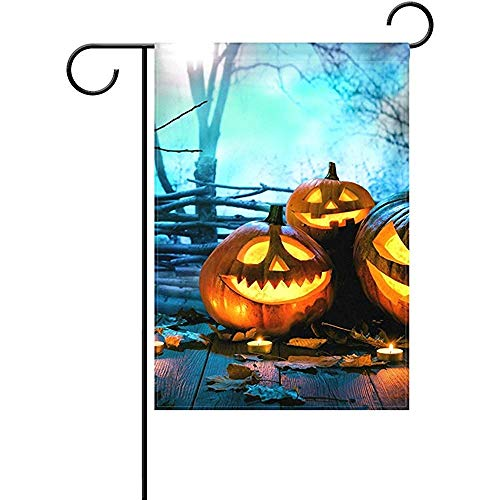 (Apryuetime Home Halloween Wood Spooky Forest Polyester Fabric Garden Flags Lovely and Mildew Resistant Custom of Waterproof 12 X 18)