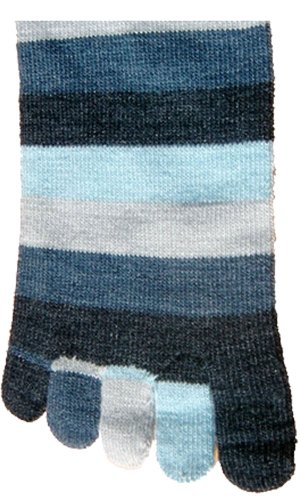 Foot Traffic Rainbow Stripe Toe Socks Denim One Size