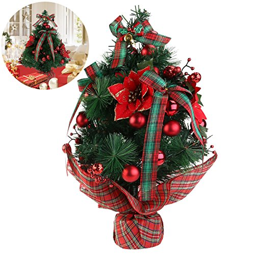 NICEXMAS Mini Tabletop Desktop Christmas Tree with Bows and Baubles Ornaments Decorations, 17.7 inch Tall Small Pre Decorated Christmas Trees