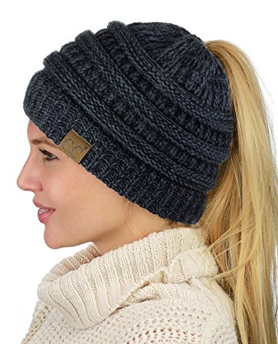 C.C BeanieTail Soft Stretch Cable Knit Messy High Bun Ponytail Beanie Hat, Black/Gray Mix ()